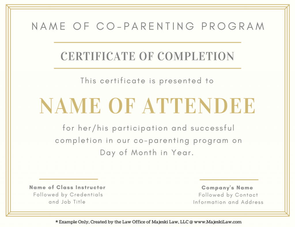 parent education order completion certificate example