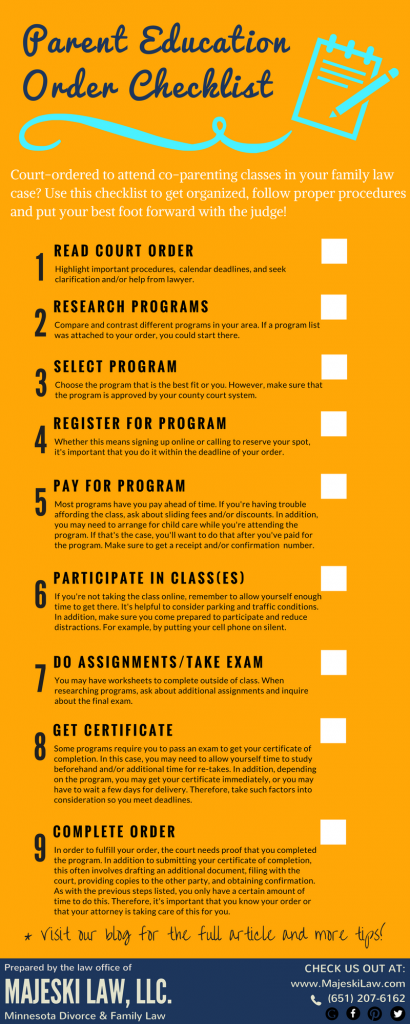 parent education order checklist