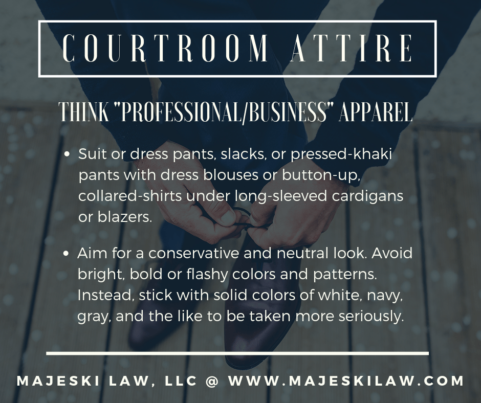 Court attire and professional business apparel in court