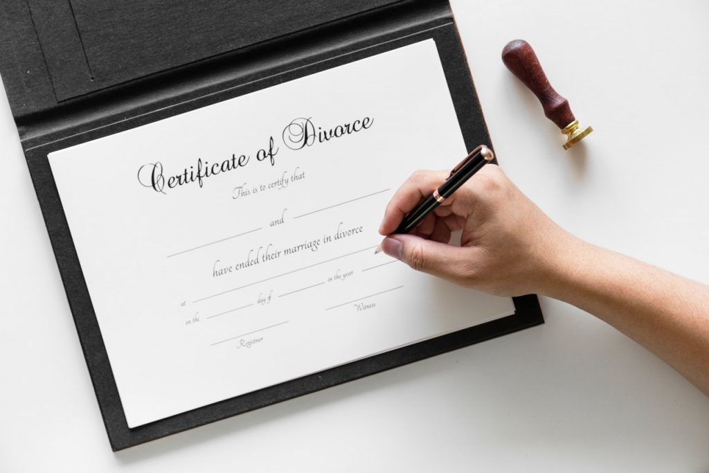 Certificate of No Fault Divorce